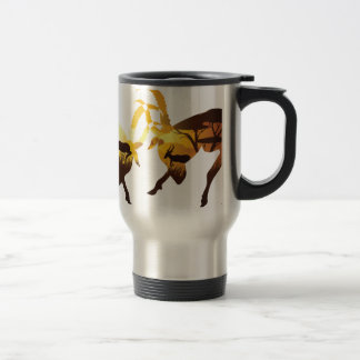 Sunset Landscape with Antelopes Travel Mug