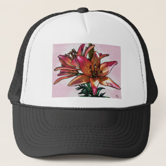 Sunset lily trucker hat