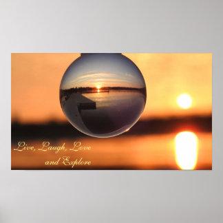 Sunset Live Love Laugh Explore Inspirational Poster