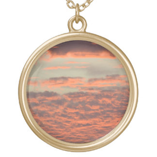Sunset Love Round Pendant Necklace