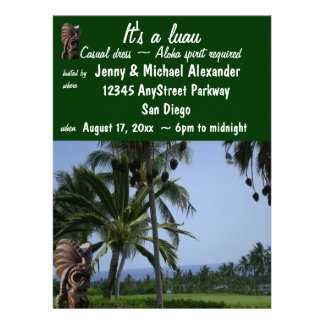 Sunset Luau Party Personalized Announcement