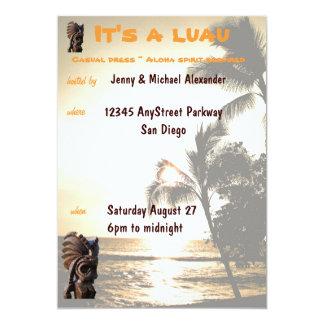 Sunset Luau Party 13 Cm X 18 Cm Invitation Card