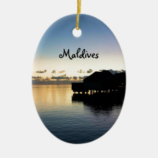Sunset Maldives Beach House Boat Oval Ceramic Ornament
