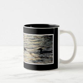 Sunset Mergansers Two-Tone Coffee Mug