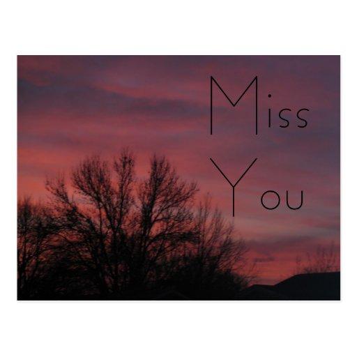 "Sunset ""Miss You"" Postcard"