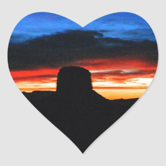 Sunset, Monument Valley, UT Heart Sticker
