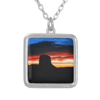 Sunset, Monument Valley, UT Silver Plated Necklace