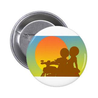 sunset motorcycle 6 cm round badge