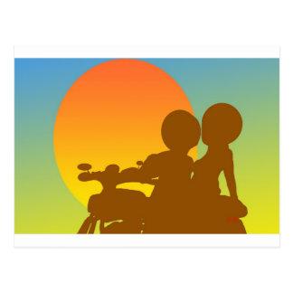 sunset motorcycle postcard