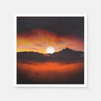 Sunset Mountain Silhouettes Nature Scenery Paper Serviettes