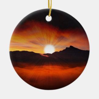 Sunset Mountain Silhouettes Nature Scenery Round Ceramic Decoration