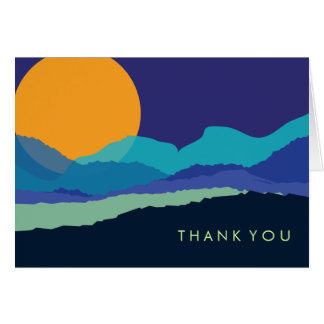 SUNSET & MOUNTAINS Folded Thank You Card