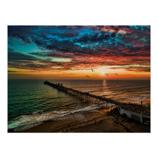 Sunset near the Oceanside Pier Poster