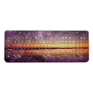 Sunset Nebula Reflection Wireless Keyboard