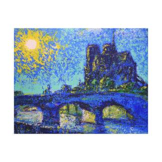 Sunset Notre Dame de Paris, painted by Den Kuvaiev Stretched Canvas Print