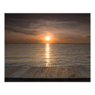Sunset off of dock photographic print