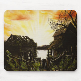 Sunset oil painting with old buildings mouse pads