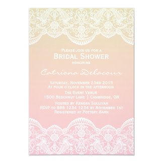 Sunset Ombre Lace Pattern Bridal Shower Invitation