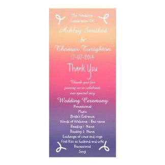 Sunset Ombre Purple Pink Beach Wedding Programs Customised Rack Card