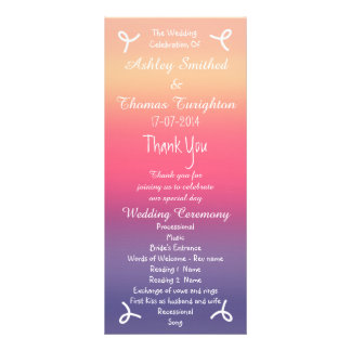 Sunset Ombre Purple Pink Beach Wedding Programs Rack Card