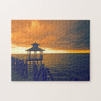 Sunset on a Beach in Jamaica. Jigsaw Puzzle