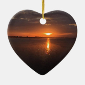 Sunset on a long summer day ceramic heart decoration