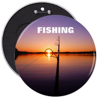 Sunset on a summer lake seen through a fishing rod 6 cm round badge