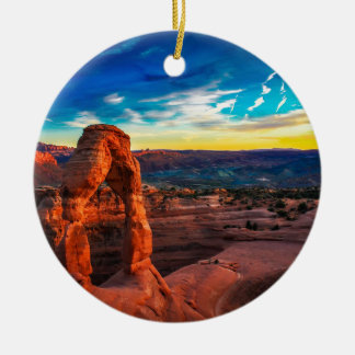 Sunset On Arches Park Ceramic Ornament
