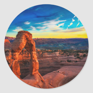 Sunset On Arches Park Classic Round Sticker