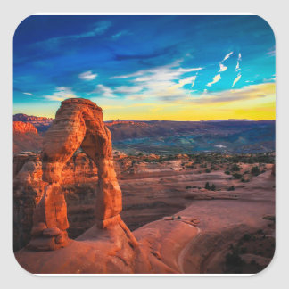 Sunset On Arches Park Square Sticker