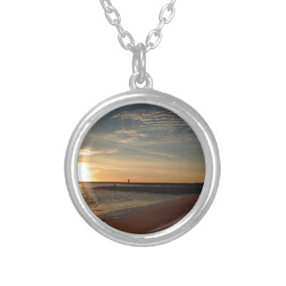 Sunset on Beach Round Pendant Necklace