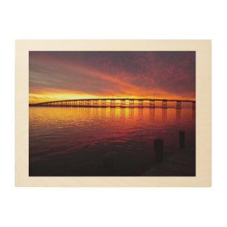 Sunset on Bogue Sound Wood Print