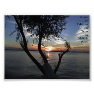 Sunset on Calaveras Lake, Texas Poster