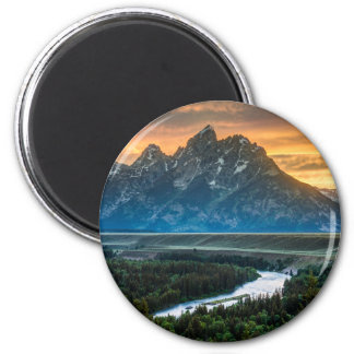 Sunset On Grand Teton And Snake River 6 Cm Round Magnet