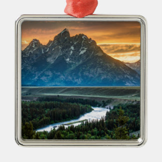 Sunset On Grand Teton And Snake River Silver-Colored Square Decoration