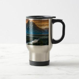 Sunset On Grand Teton And Snake River Travel Mug