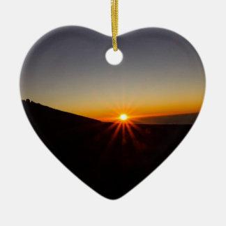 Sunset on Haleakala Volcano Ceramic Heart Decoration
