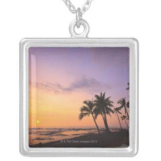 Sunset on Kahaluu Bay in Kona,Hawaii 2 Silver Plated Necklace