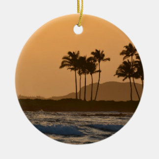 Sunset on Kauai Round Ceramic Decoration