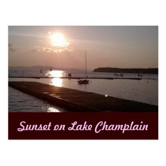 Sunset on Lake Champlain Burlington Vermont Postcard