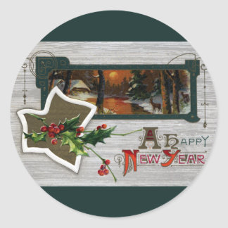 Sunset on Lake, Deer and Holly Vintage New Year Classic Round Sticker