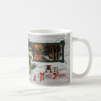 Sunset on Lake, Deer and Holly Vintage New Year Coffee Mugs