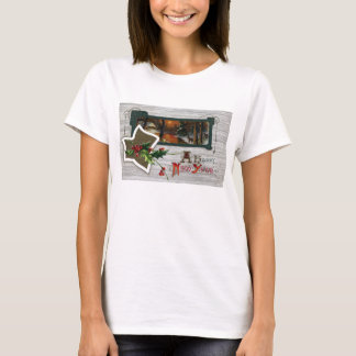 Sunset on Lake, Deer and Holly Vintage New Year T-Shirt