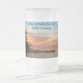 Sunset on Lake Ontario Frosted Glass Mug