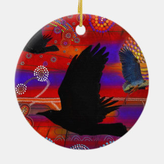Sunset on Lake Wendouree Australian Aboriginal Art Round Ceramic Decoration