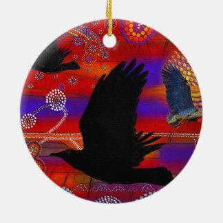 Sunset on Lake Wendouree Australian Aboriginal Art Round Ceramic Decoration