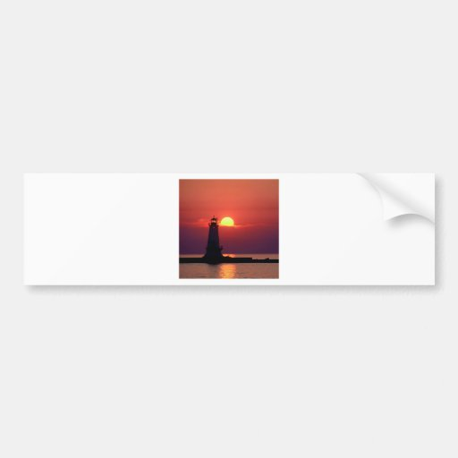 Sunset On Lighthouse Bumper Stickers