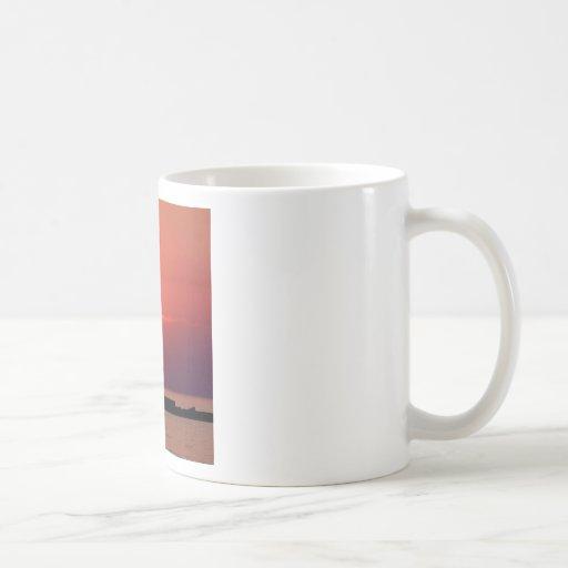 Sunset On Lighthouse Coffee Mugs