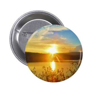 Sunset on mountain Lake Arrowhead Pinback Buttons