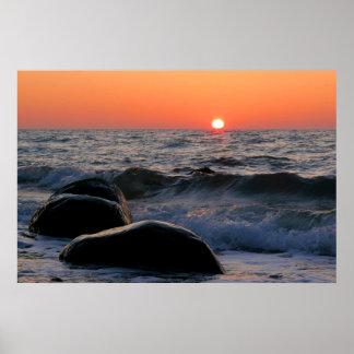 Sunset on the Baltic Sea coast Poster